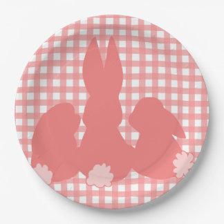 Cute Bunnies - Coral Plaid Paper Plates