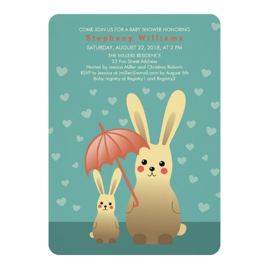 Cute Bunnies Mummy With Baby Shower Invitation