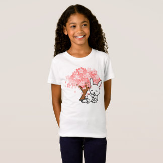 Cute Bunnies Rabbits & Cherry Blossom Tree T-Shirt