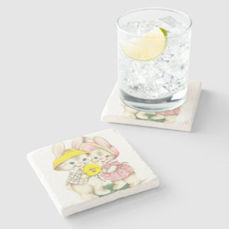 Cute bunnies stone coaster