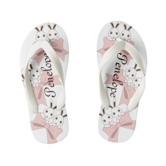 Cute Bunnies w/ Pink Ribbons Kids Name Girls Flip Flops