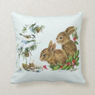 Cute Bunnies with Christmas Holly Berries Cushion