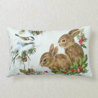 Cute Bunnies with Christmas Holly Berries Lumbar Cushion