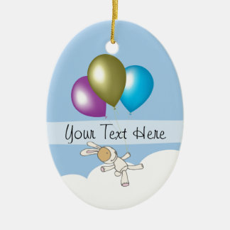 Cute Bunny and Balloons, Customisable Name Gifts Ceramic Oval Decoration