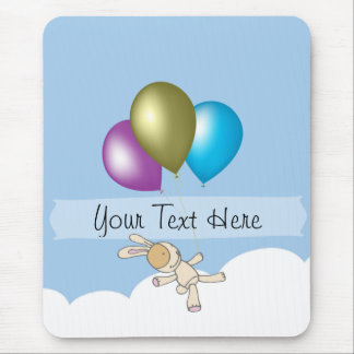 Cute Bunny and Balloons, Customisable Name Gifts Mouse Mat