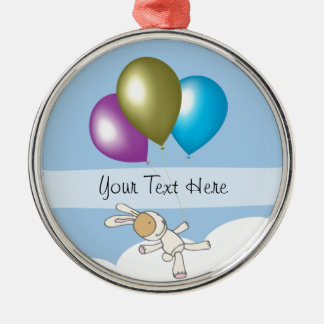 Cute Bunny and Balloons, Customisable Name Gifts Silver-Colored Round Decoration