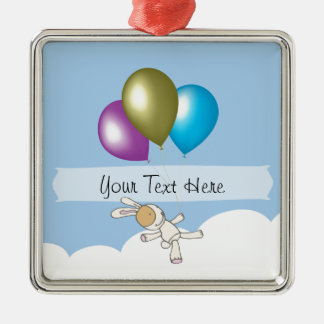 Cute Bunny and Balloons, Customisable Name Gifts Silver-Colored Square Decoration