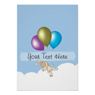 Cute Bunny and Balloons Customisable Name Poster