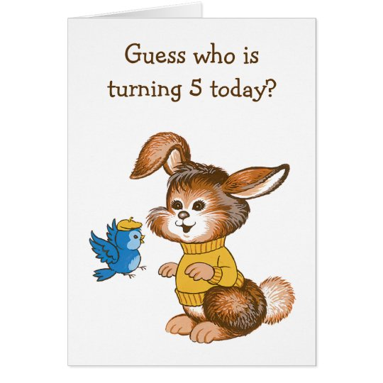 Cute Bunny and Bluebird Kids Fifth Birthday Card