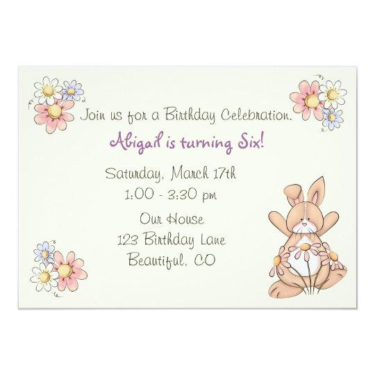 Cute Bunny and Flowers Girls Birthday Invitation