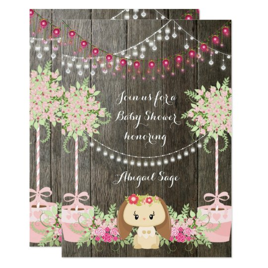 Cute Bunny and Flowers Rustic Baby Shower Invite