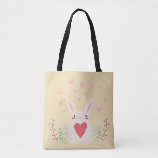 Cute Bunny and Happy Hearts for Spring Tote Bag