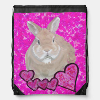 Cute bunny and hearts bag