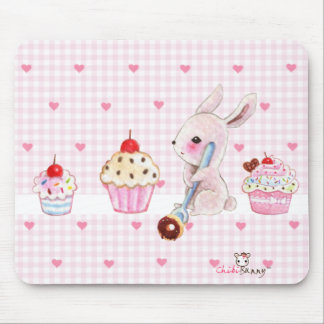 Cute bunny and kawaii cupcakes mouse pads