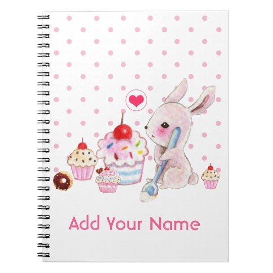 Cute bunny and kawaii cupcakes - Personalised Spiral