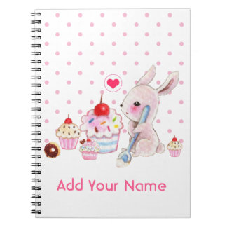 Cute bunny and kawaii cupcakes - Personalized Spiral Note Book