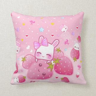 Cute bunny and kawaii strawberries cushion