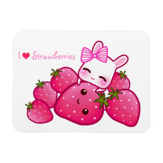Cute bunny and kawaii strawberries rectangular photo magnet