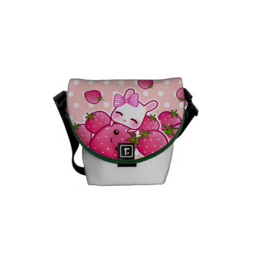 Cute bunny and kawaii strawberries commuter bags