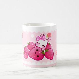 Cute bunny and kawaii strawberries coffee mugs