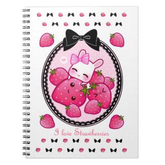 Cute bunny and kawaii strawberries spiral notebooks