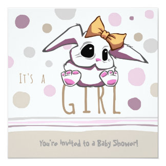 Cute Bunny Baby Shower Invitation