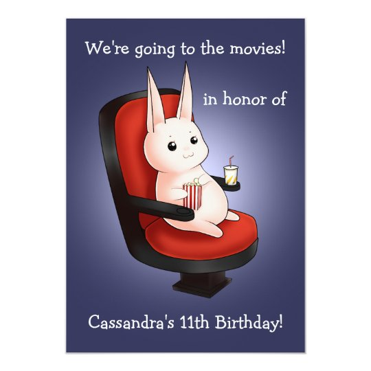 cute bunny Birthday at the movie theatre Card