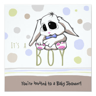 Cute Bunny Boy Baby Shower Invitation