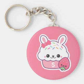 Cute Bunny Cupcake Monogram Key Ring