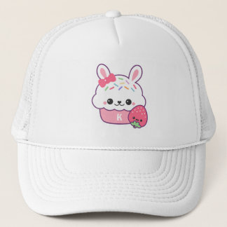 Cute Bunny Cupcake Monogram Trucker Hat