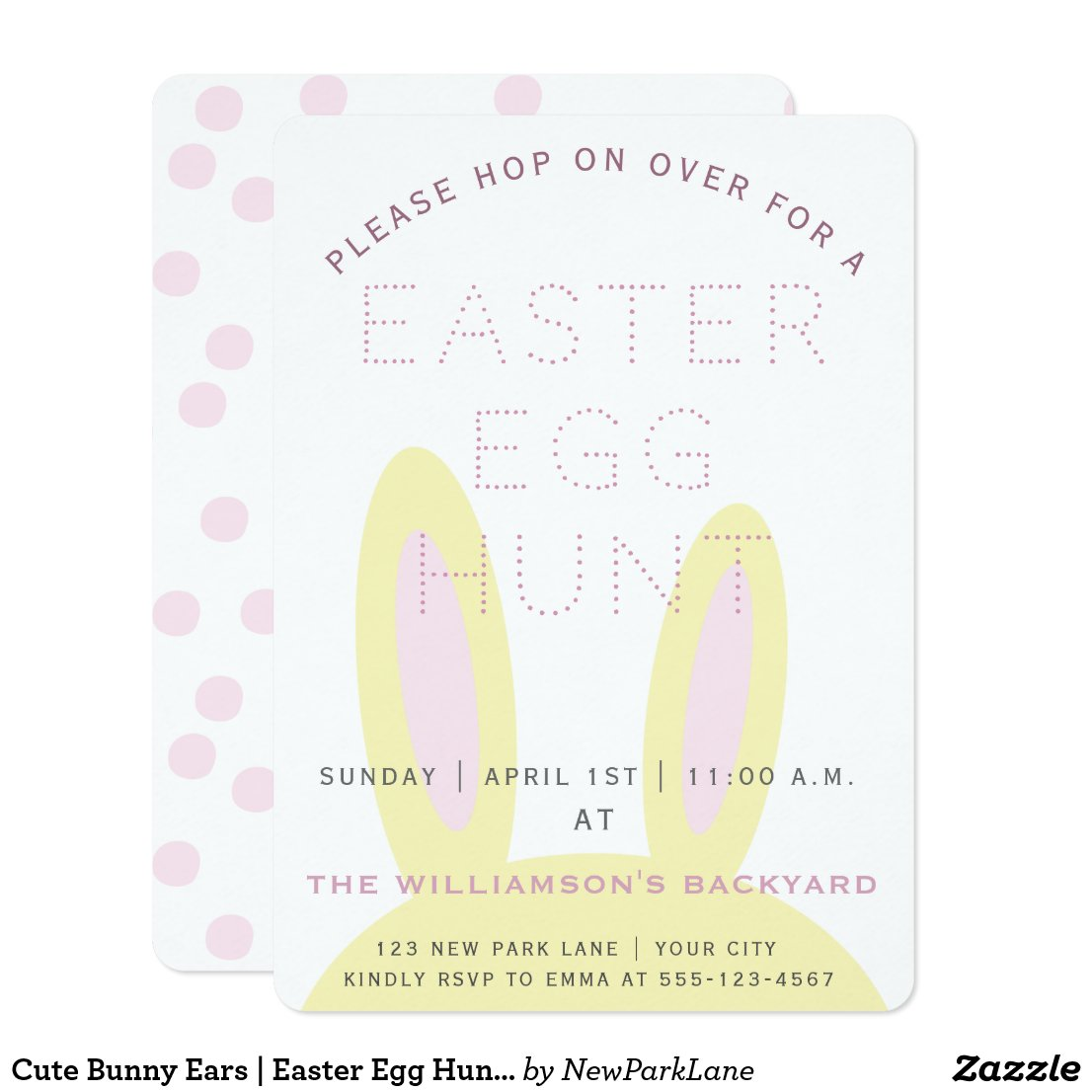 Cute Bunny Ears | Easter Egg Hunt Invitation