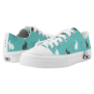 cute bunny flower and butterfly pattern low tops