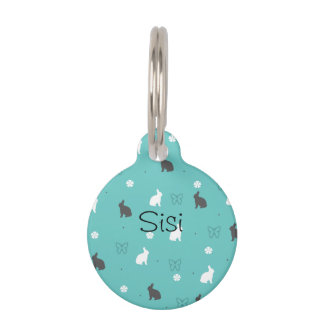 cute bunny flower and butterfly pattern pet name tag