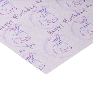Cute Bunny for Happy Birthday Wishes / Custom Text Tissue Paper
