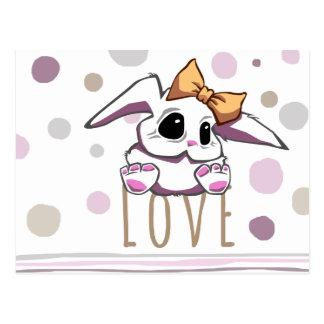 Cute Bunny Girl Postcard Love