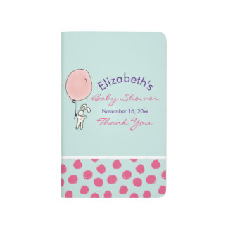 Cute Bunny Holding a Balloon Baby Shower Thanks Journal