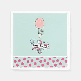 Cute Bunny Holding a Balloon Happy Birthday Paper Napkin