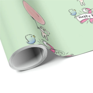 Cute Bunny Holding a Balloon Happy Birthday Wrapping Paper