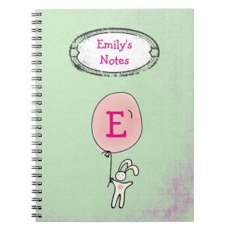 Cute Bunny Holding a Balloon Monogram Notebooks