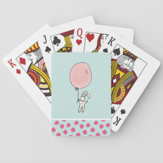 Cute Bunny Holding a Balloon Playing Cards