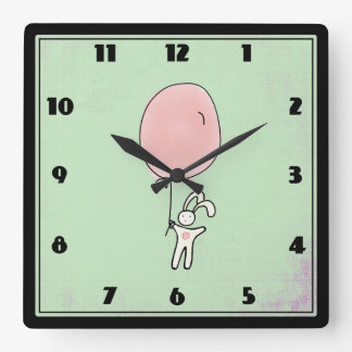 Cute Bunny Holding a Balloon Square Wall Clock