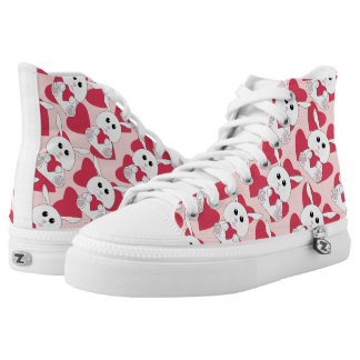 Cute bunny love Valentine's Day Heart pattern pink High Tops