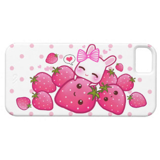 Cute bunny loves kawaii strawberries barely there iPhone 5 case