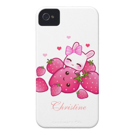 Cute bunny loves kawaii strawberry - Personalised iPhone 4 Case-Mate Cases