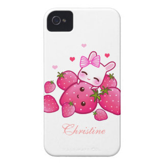 Cute bunny loves kawaii strawberry - Personalized iPhone 4 Cover