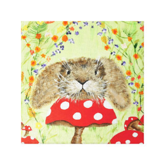 Cute Bunny peeping over Toadstool Canvas Canvas Print