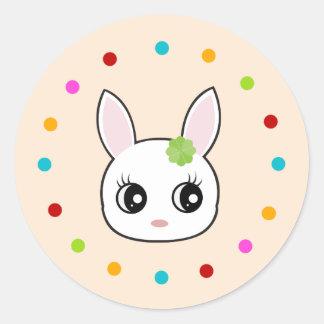 Cute bunny, polka dot circle round sticker