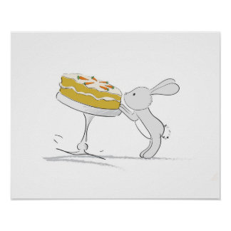 Cute Bunny poster (Pinching carrot)