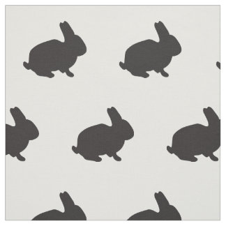 Cute bunny rabbit baby animal black silhouette fabric