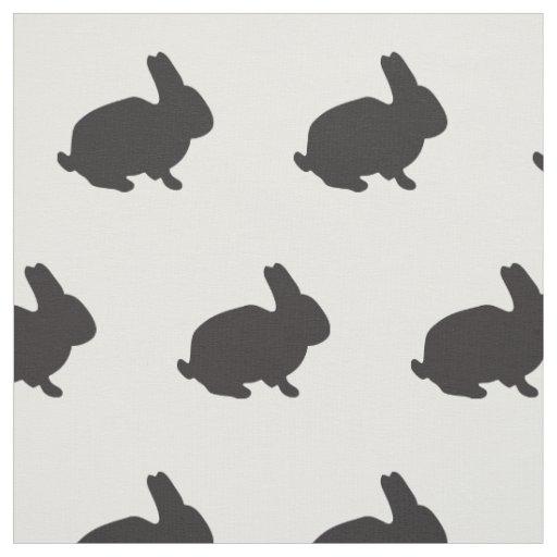 Cute bunny rabbit baby animal black silhouette fabric